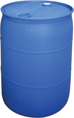 REPURPOSED 55 GALLON PLASTIC BARREL WITH NON REMOVABLE COVER