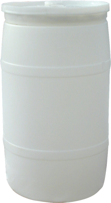 BARREL 30 GAL PLASTIC WITH NON-REMOVABLE COVER *USED*