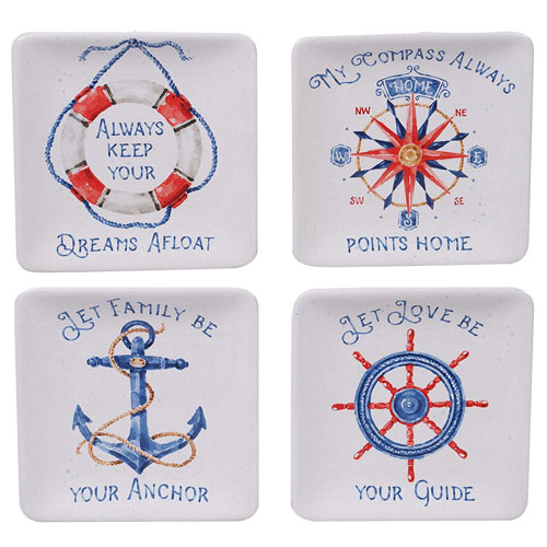 "NAUTICAL LIFE CANAPE PLATE 6"" ASSORTED DESIGNS"