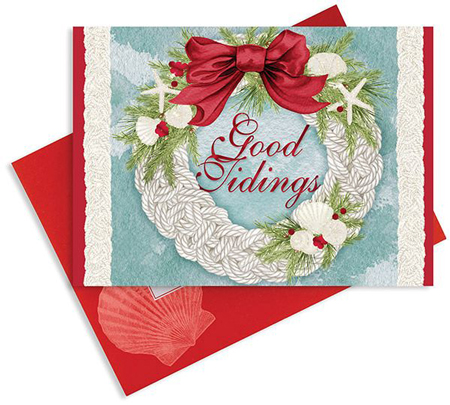 CHRISTMAS CARDS GOOD TIDINGS WREATH 16 COUNT WITH ENVELOPES
