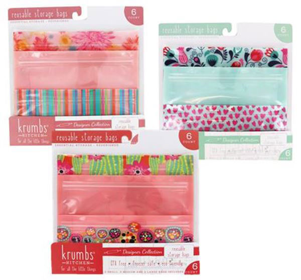 REUSABLE STORAGE BAGS 2 SMALL, 2 MEDIUM, 2 LARGE ASSORTED DESIGNS