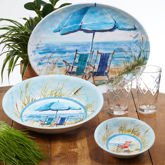 "OCEAN VIEW SERVING BOWL LARGE MELAMINE 13.75""X2.75"""
