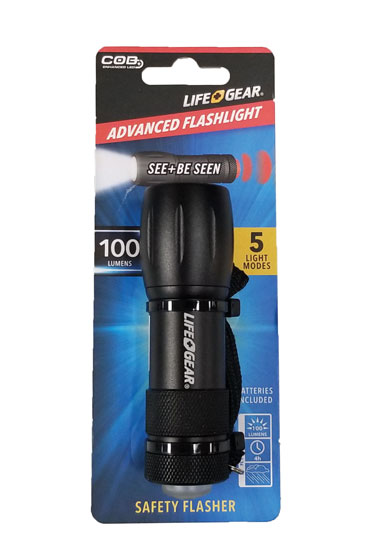 LIFE GEAR FLASHLIGHT 100 LUMENS 5 LIGHT MODES WITH SAFETY FLASHER