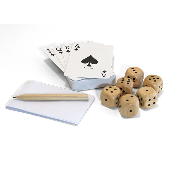 GAMING KIT FIRESIDE INCLUDES DECK OF CARDS, 6 DICE, NOTEPAD AND PENCIL (TIN