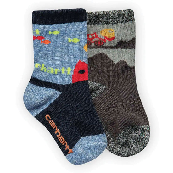 SOCK CARHARTT CREW BOYS 2PK GRAY AND BLUE SIZE LARGE