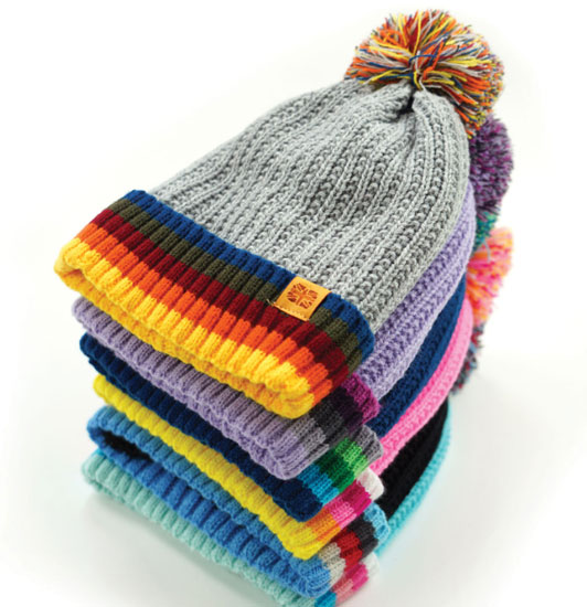 KIDS PLUSH LINED KNIT HAT WITH POM POM, ASSORTED COLORS