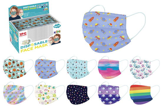 FACE MASK DISPOSABLE KIDS ASSORTED PRINTS (SOLD BY EACH)