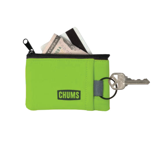 FLOATING MARSUPIAL POUCH  WALLET WITH KEY RING, HI-VIS GREEN