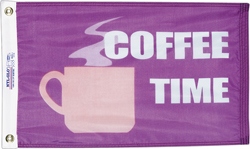 "FLAG COFFEE TIME 12""X18"" NOVELTY FLAG"