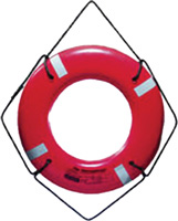 "RING BUOY 30"" ORANGE NYLN VNYL W/TAPE ROPENUT"