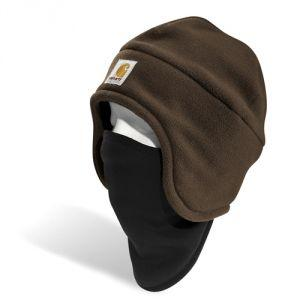 HAT 2 IN 1 FLEECE WITH PULL DOWN FACE MASK BROWN