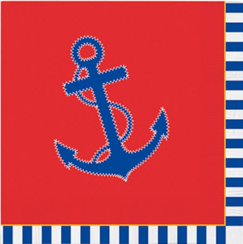 NAPKINS BEVERAGE NAUTICAL CHIC ANCHOR   24 COUNT