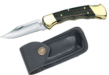 BUCK KNIFE GROOVED RANGER W/BLACK LEATHER SHEATH