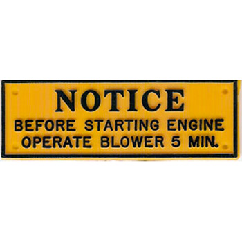 PLAQUE OPERATE BLOWER 5 MINUTES